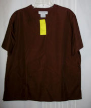 NWT Natural Uniforms nurse Scrubs TOP Size Med Chocolate Brown Natural C... - $8.99