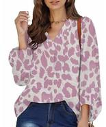 Women's Leopard Long Trumpet Sleeve V-Neck Shirt Blouse Violet Small NWOT - $13.36