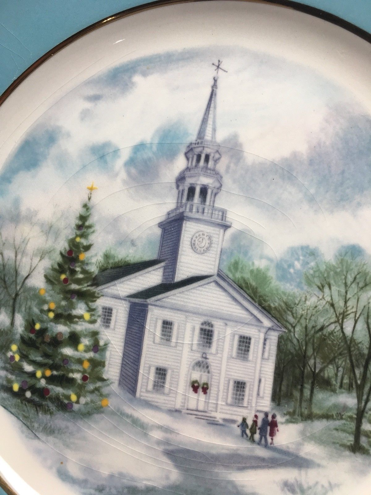 Avon 1974 Christmas Church Collector's Plate - Second Edition - Country Church image 5