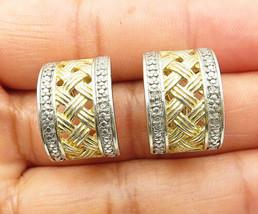 925 Silver - Vintage Genuine Diamonds Two Tone Weaved J-Hoop Earrings - E4597 - $32.22