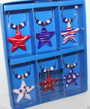 Pier 1 Imports NIB Americana Stars Drink Charms Set of 6 Red White BLue ... - $22.69