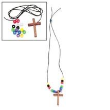 Wood Cross Faith Necklace Craft Kits 1 dz - $10.84