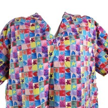 Apples For Life Hearts Stars 2XL Patchwork Scrub Top - $16.82