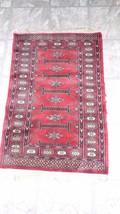ANTIQUE VINTAGE WOOL TURKISH PERSIAN RUG WITH FRINGE PLUSH 25X37 - $148.01