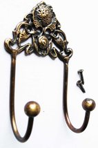 NEW French Victorian Solid Brass Floral Wall mount Coat Key Hat Hook Hoo... - $12.99