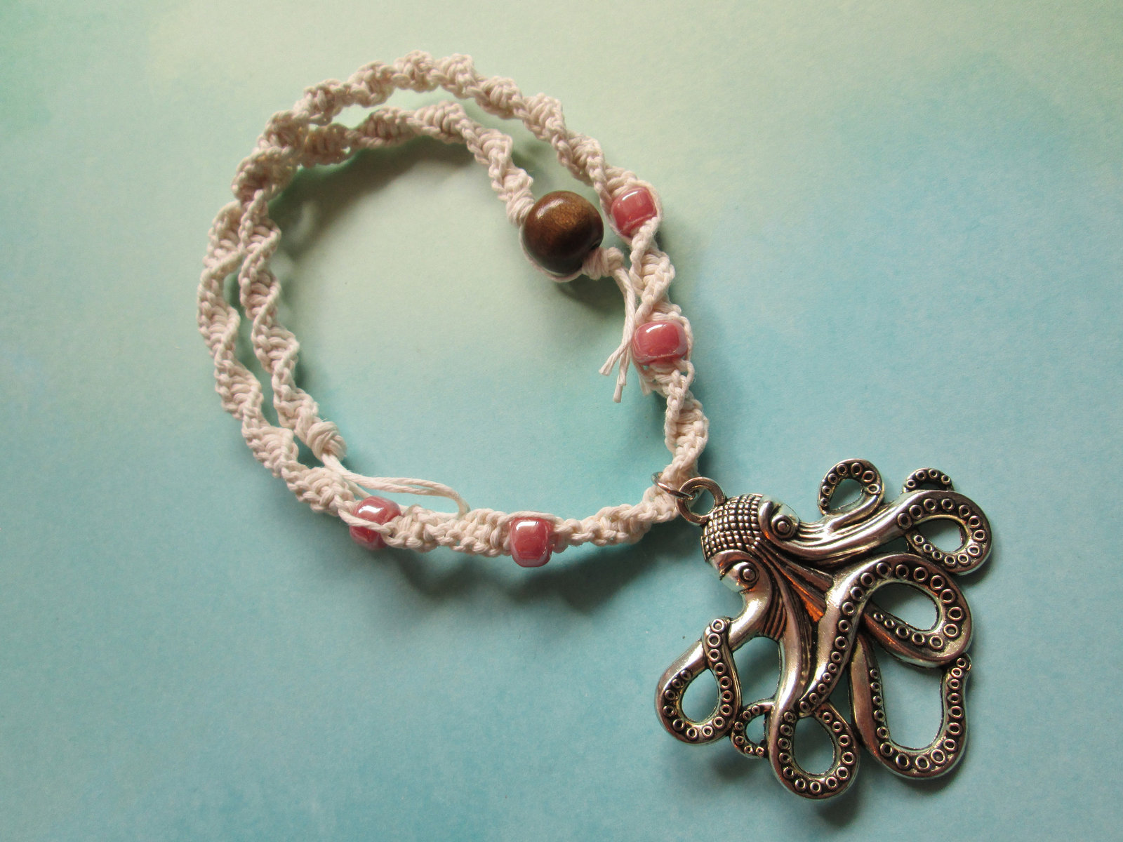 Handmade White Hemp Necklace with Steampunk Silver Octopus Charm Pendant