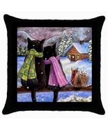 Throw Pillow Case or Cushion Case black Cat 585 squirrel art painting L.... - $23.99+