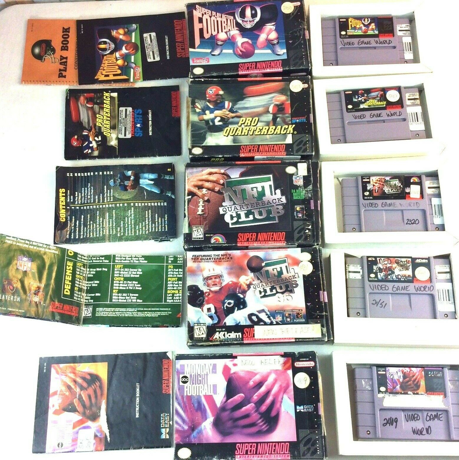 SNES Game Lot NFL Quarterback Club Monday Night Football Super Play Action Boxes