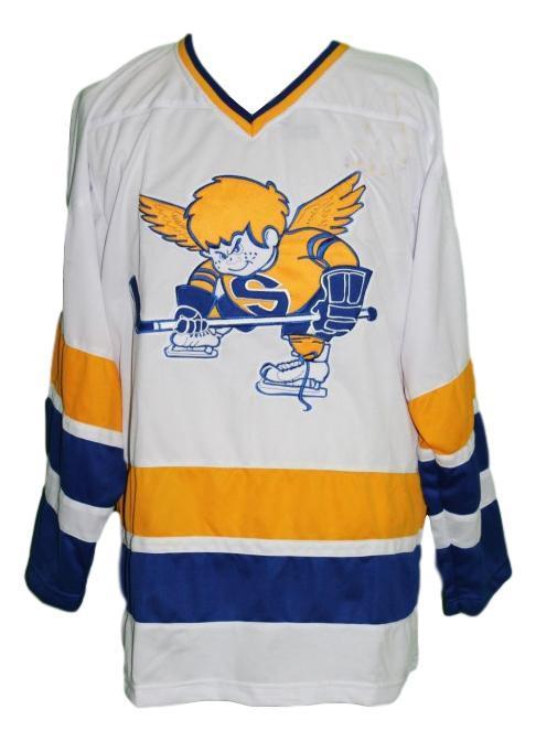 Jack carlson  21 custom minnesota fighting saints retro hockey jersey white   1