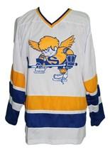 Jack-Carlson Minnesota Fighting Saints Retro Hockey Jersey White Any Size image 1
