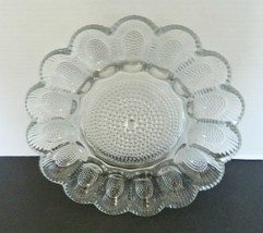 Indiana Glass Clear Pressed Glass Devil Egg Dish Plate Platter Shell Hob... - $24.63