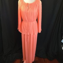 Vtg Bullocks Peach Sherbert Fortuny Perma-Pleat Disco Maxi Dress Lined L... - $98.01