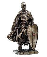 "Crusader Knight Statue Silver Finishing Cold Cast Resin Statue 7"" (8713) - $28.91 CAD"