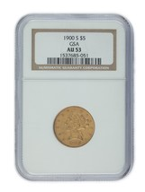 1900-S Gold US gold Half Eagle Graded by NGC As AU-53! Unique Release by... - $1,775.36