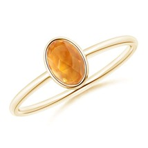 Oval Natural Citrine Solitaire Ring 14k Gold/ Silver Size 3-13 Angara - $155.82+