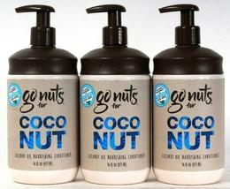 3 Bottles Go Nuts For 16 Oz Coconut Oil Natural Aloe Juice Nourish Conditioner - $35.99
