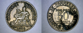 1922 French 50 Centimes World Coin - France - $4.49