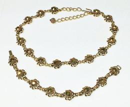 Vintage GOLD Rhinestone Antiqued Gold 1950's Costume Jewelry Demi Parure - $40.00