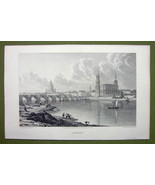 GERMANY Saxony Dresden on Elbe River - 1820s Copper Engraving Cpt BATTY - $18.36
