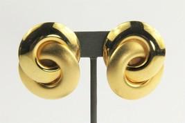 ESTATE VINTAGE 80's HUGE HIGH END MATTE & GLOSSY GOLD KNOT STATEMENT EAR... - $15.00