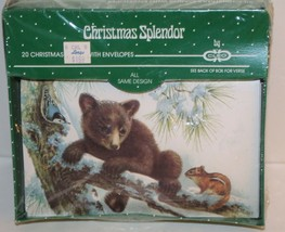 20 VINTAGE Christmas Card Envelope Cleo By Gibson BEAR SQUIRREL BIRD sno... - $25.43