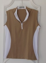 Stylish Women's Golf & Casual Tan Sleeveless Mock Polo, Rhinestone Zipper  - $29.95