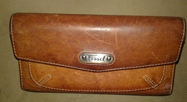 Fossil Leather Wallet Trifold Clutch Brown Leather Pre-owned - $16.00