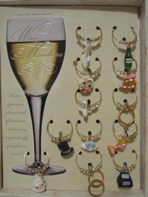Wedding wine charm set