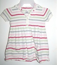 Gymboree Classroom Kitty Gray White Pink Red Striped Sweater Hoodie Dress 6 - $12.73
