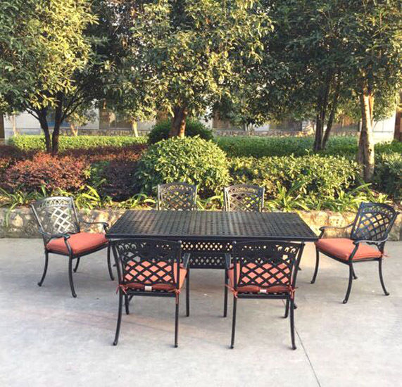 Patio dining set 7 piece outdoor aluminum  furniture 1 table 6 chairs
