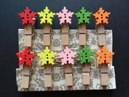 Snowflake Design 10pieces Wooden Clip,Wood Pegs,Mini Bag Paper Clip,Fash... - $0.90