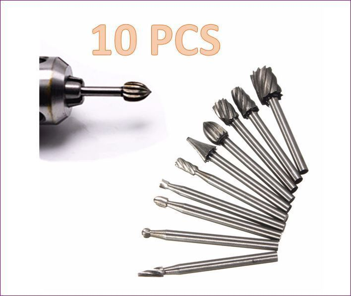 10pcs 1/8 Inch Shank Milling Rotary File Burrs Bit Set Wood Carving Rasps Dremel - $7.47