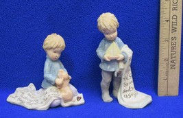 Foundations Figurines Boy w/ Puppy & Sailboat Prayer Lot 2 K Hahn Dear God - $9.89