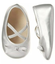 Gymboree Baby Girls Silver Ballet Crib Shoes Size 02 New with Tags - $22.27