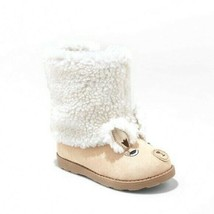 Cat & Jack Toddler Girls Cream Tan Kelli LLAMA Face Faux Fur Winter Boots 10 NWT