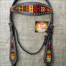 Western Horse Headstall Tack Bridle American Leather Black Aztec Inlay U-1-HS - $63.95