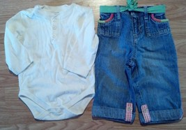Girl's Size 18 M Months 2 Pc Cream F.G L/S Top & Osh Kosh Denim Jeans W/ Belt - $17.00