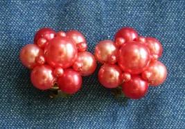 Elegant Bright Peachy Pink Faux Pearl Gold-tone Clip Earrings 1960s vint... - $12.30