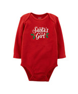 Carter's Girl's Size 3m Santa's Girl Red Long Sleeve Snap-bottom Top New - $8.99