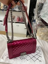 SALE*** Authentic Chanel Boy Metallic Fuchsia Pink Quilted Patent Leather Medium image 8