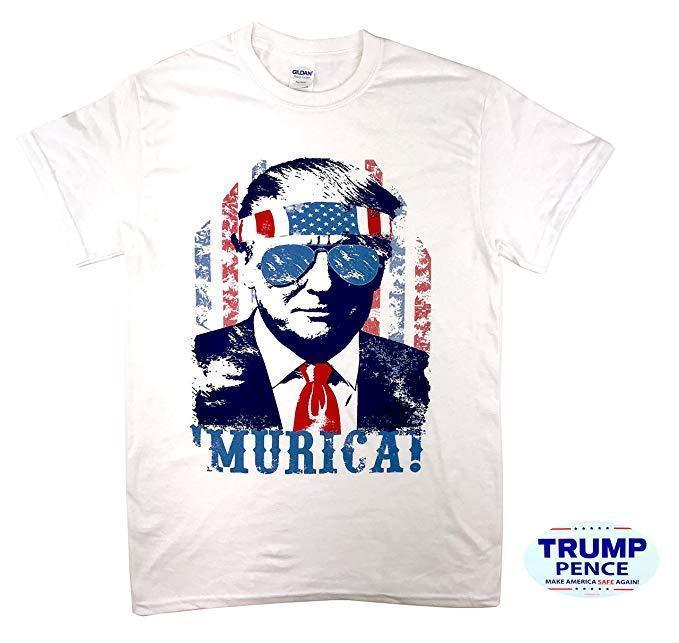 Donald Trump 'Murica T Shirt with Free Bumper Sticker Shirt Election Tee White