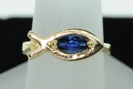 """Custom made, 14K Yellow Gold, Natural Sapphire """"Promise"""" Ring (""""6 3/4"""") - $550.00"""