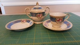 Occupied Japan Sugar bowl with lid cup and 2 saucers - Blue with gold tr... - $5.52