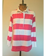 J.Crew Women's Rugby Stripe Polo Old Red Pink Size L - $29.69