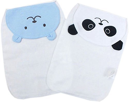 Set of 2 Cotton Soft Cartoon Design Sweat Towel for Baby/Toddler, Bear/Panda