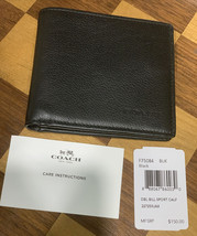 Coach Men Black Billfold Double Fold Bifold Leather Wallet 75084 F75084 - $49.49