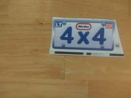 Little Tikes Cozy Truck Ride-On 4x4 License Plate Decal - FREE SHIPPING - $4.80