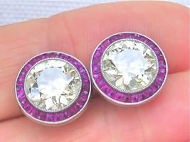 ANTIQUE ART DECO 4.46ctw EURO DIAMOND RUBY HALO STATEMENT STUD EARRINGS ... - $36,035.01