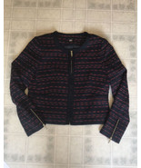 TOMMY HILFIGER Womens Red Blue Woven Boucle' Style Zip Up Jacket Size: 12 - $55.81