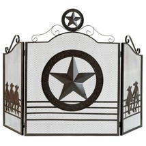 Fire Screen For Fireplace, Antique Rustic Iron Lone Star Fireplace Screens Black - $90.99